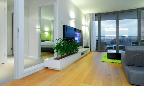 оригинальный способ размещения растений в интерьере гостиной