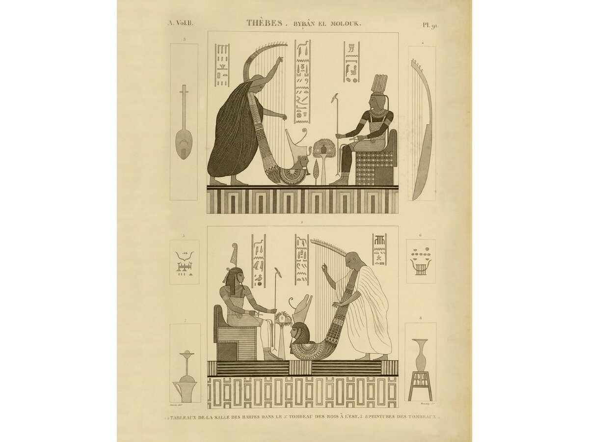 """Росписи комнаты с арфами в гробнице фараона в Фивах. """"Описание Египта"""", том 2."""