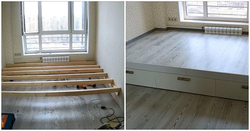 Отличный вариант для небольших комнат: кровать-подиум своими руками