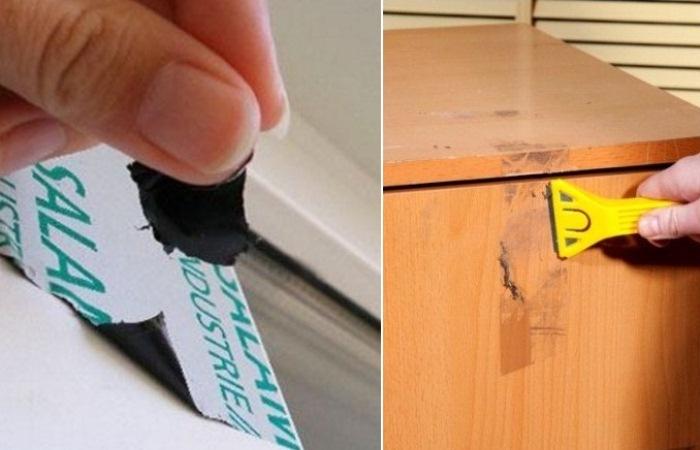 Как оттереть скотч от шкафа
