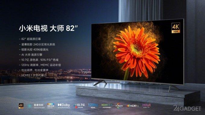 Представлена новая линейка 82-дюймовых телевизоров Xiaomi с разрешением 8К и поддержкой 5G будущее,бытовая техника,гаджеты,Интернет,наука,ТВ,техника,технологии,электроника