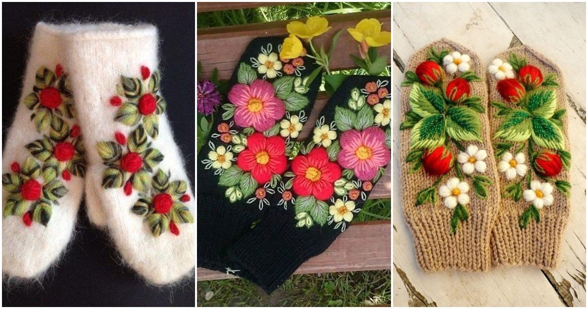 Тепло для ваших рук: великолепные варежки с цветочной вышивкой