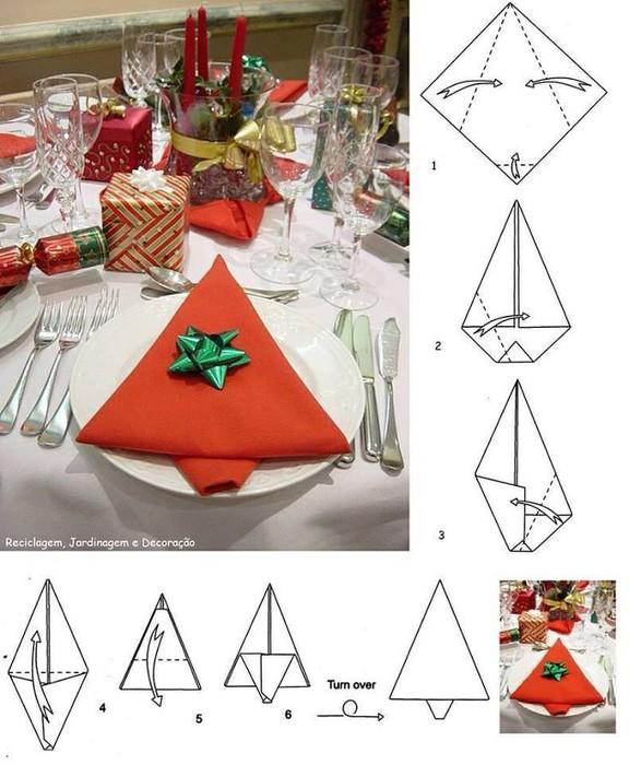 Как красиво сложить салфетки на новогоднем столе