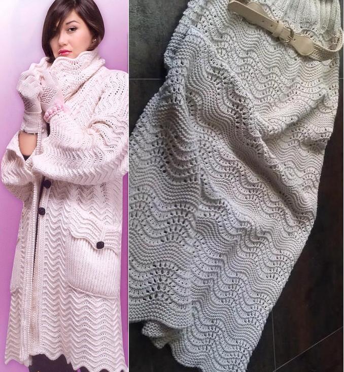 Ажурное пальто и юбка одним узором