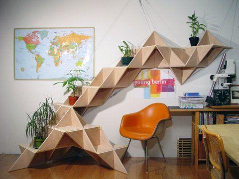 Geometric modular shelving.
