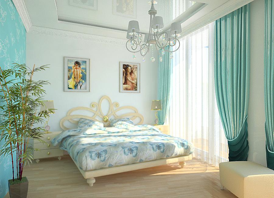 Стильный интерьер бирюзовой спальни