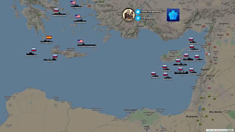 Показаны группировки флотов России и НАТО в Восточном Средиземноморье Новости