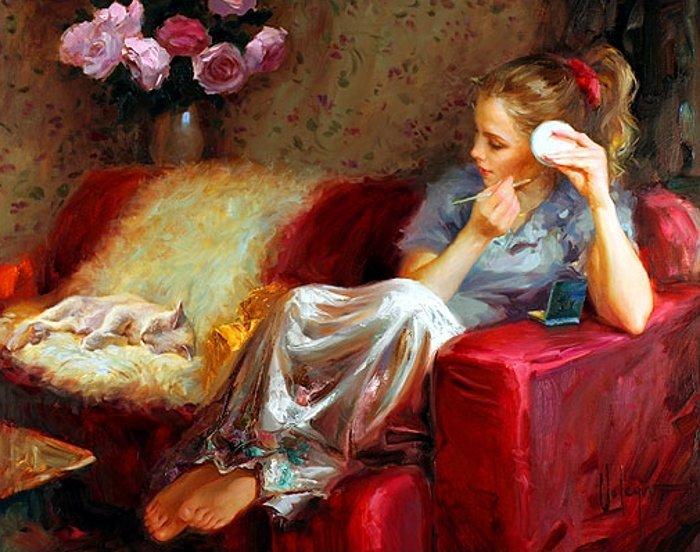 Женщина, как кошка, ищет, где теплее