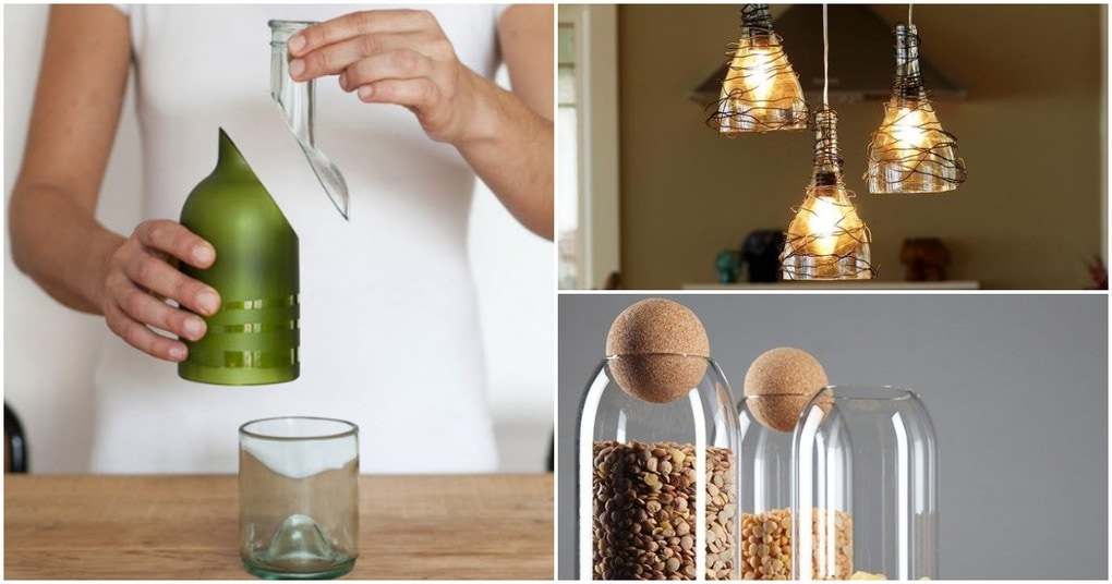 Вместо того, чтобы выбрасывать стеклянные бутылки, режьте их