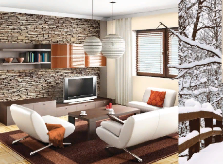 Теплый коричневый дизайн интерьера