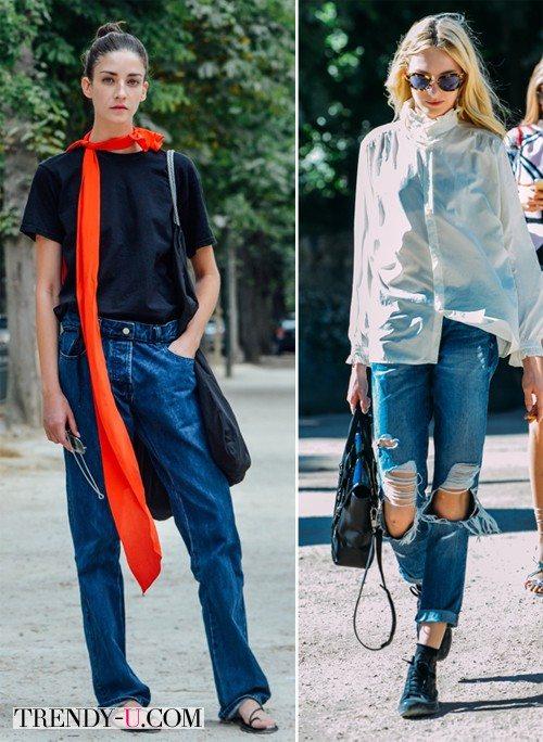 Джинсы-бойфренды на уличных модницах