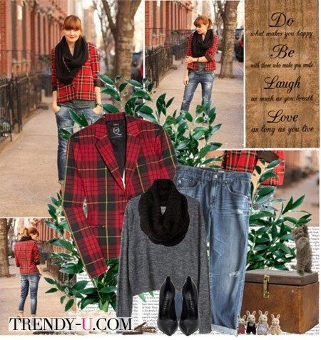 Клетчатый пиджак и джинсы-бойфренды