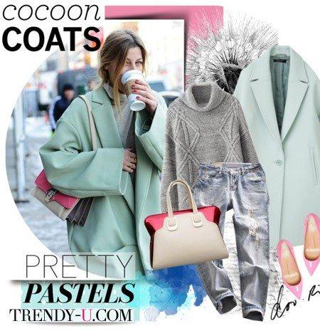 Джинсы-бойфренды и пастельного оттенка пальто