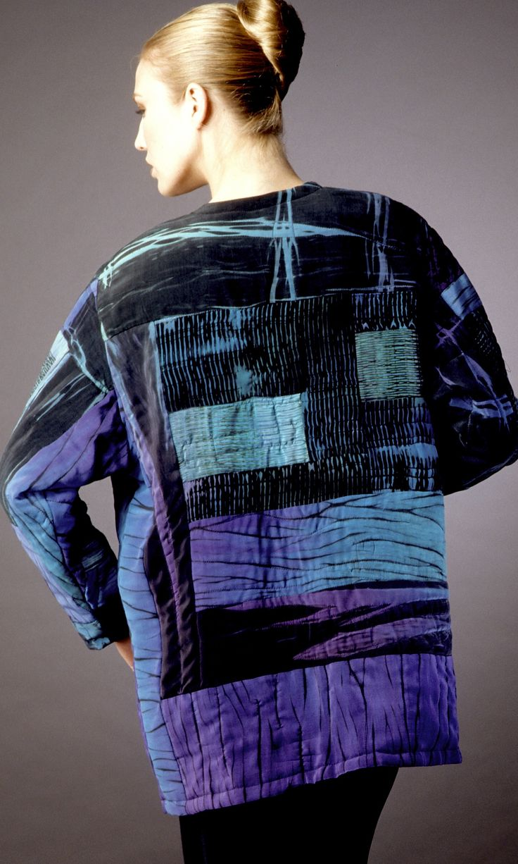 Pieced and Quilted Blues Shibori overlap jacket: