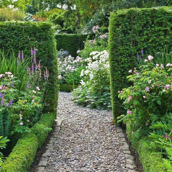Прямые дорожки обеспечивают четкое деление сада на прямоугольные сегменты.