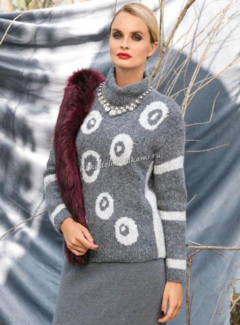 Женский пуловер с воротником…