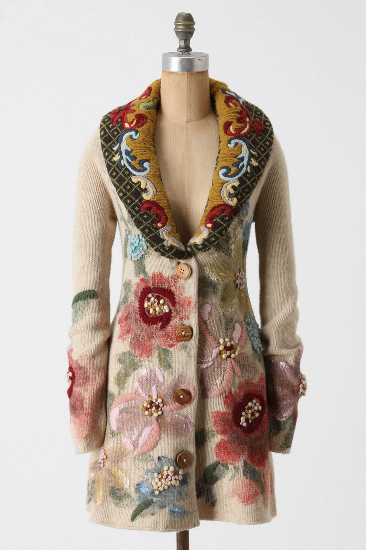 Anthropologie's Handpainted Poppies Sweatercoat - Are you KIDDING me? This is GORGEOUS!: