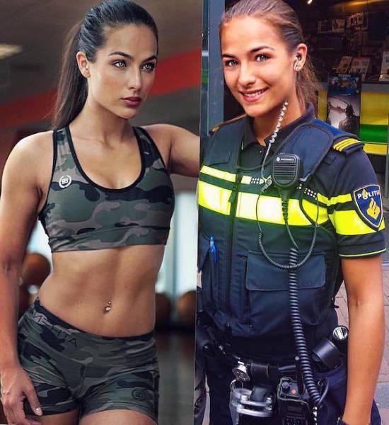 Модель со способностями полицейского