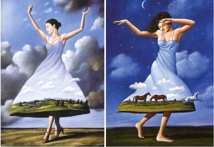 Сюрреалистические миры на картинах с причудливыми сюжетами художника-самоучки Рафала Олбински