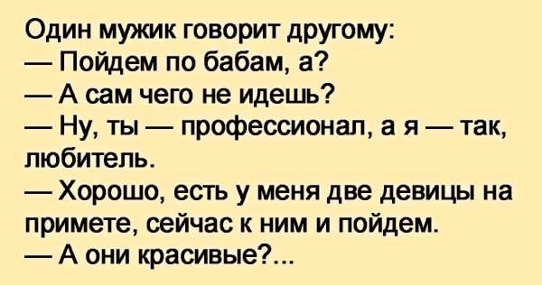 Один мужик говорит другому:  — Пойдем по бабам, а?