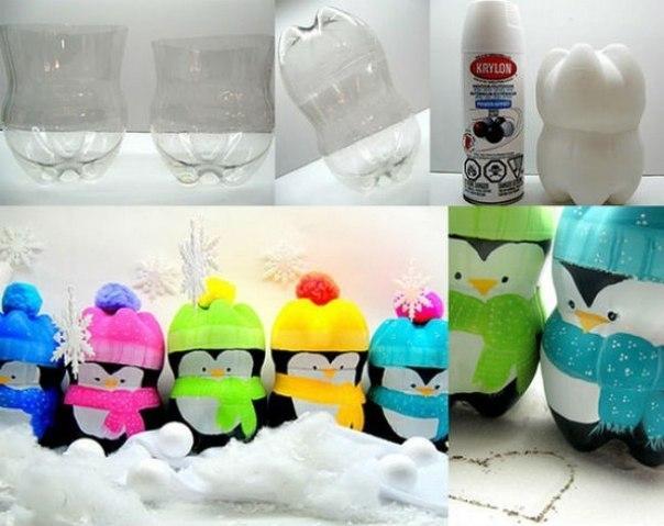 Новогодние пингвины из пластиковых бутылок Новогодние, пингвины, пластиковых, бутылок, украсят, подоконники, встанут, рядом, Дедом, Морозом