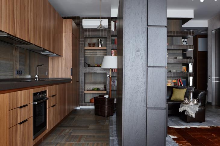 Кухня/столовая в цветах: Бирюзовый, Коричневый, Светло-серый, Темно-коричневый. Кухня/столовая в стиле: Минимализм.