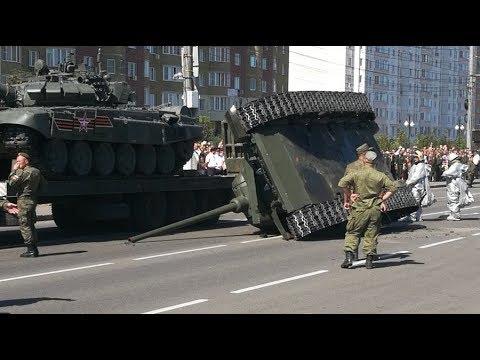 В Курске после парада уронили танк