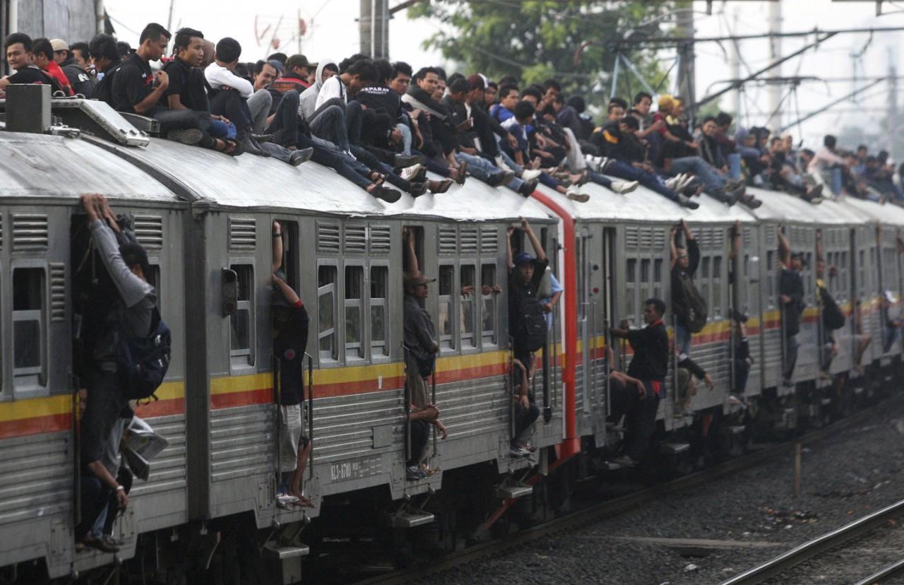 Как в Индонезии убирают с крыш безбилетников (3 фото )