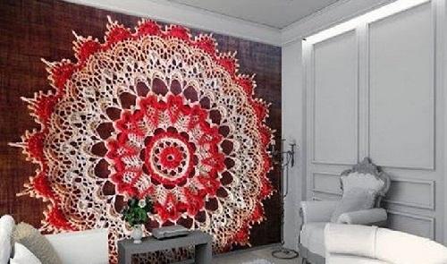 dekor steny bol'shoj salfetkoj