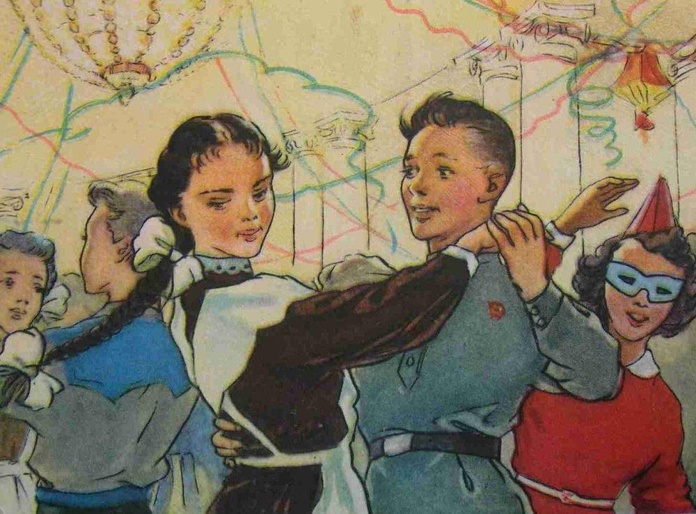 Открытки 1950-х годов на тему 1-го сентября, анимация