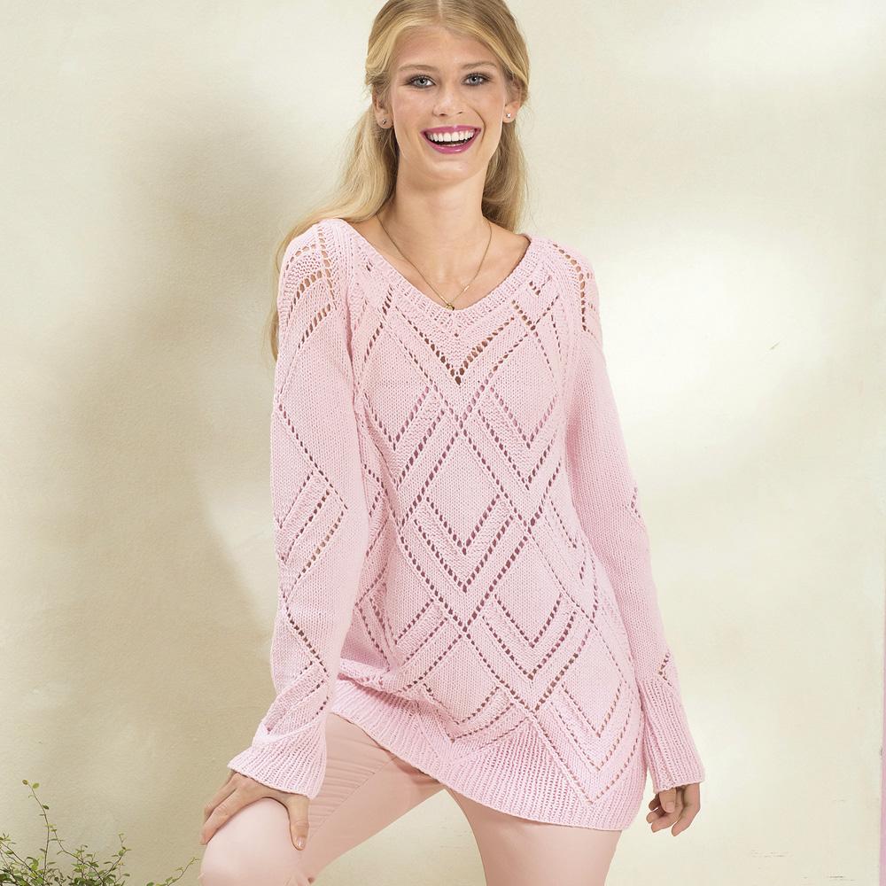 Пуловер с ажурным узором из ромбов