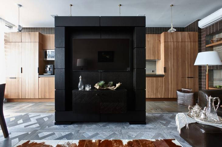 Гостиная в цветах: Бирюзовый, Коричневый, Светло-серый, Темно-коричневый. Гостиная в стиле: Минимализм.