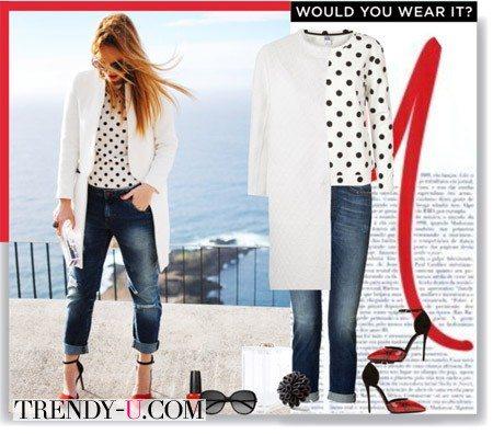 Блузка в стиле ретро и джинсы-бойфренды