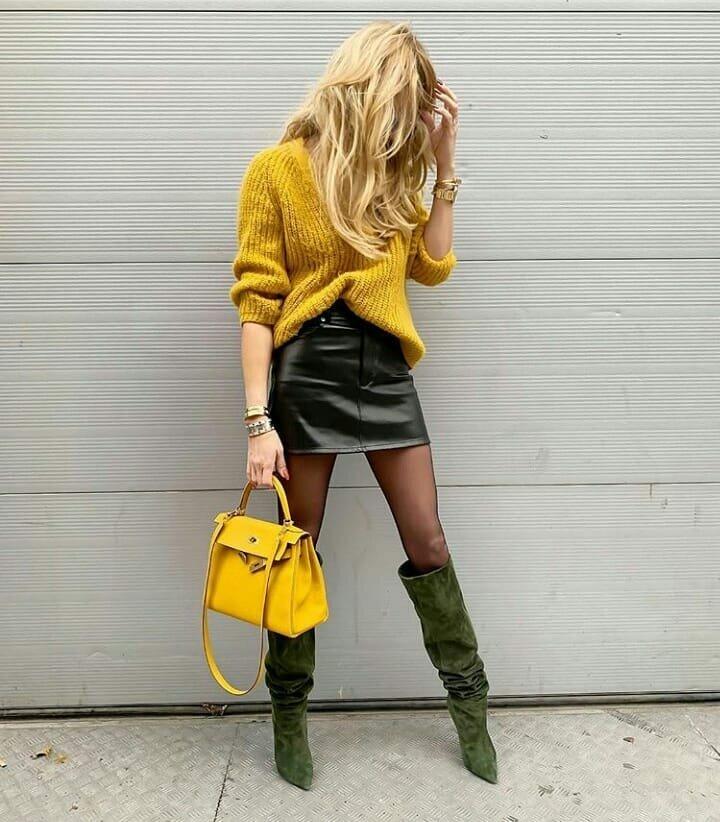 15 интересных идей с чем носить желтый свитер и джемпер