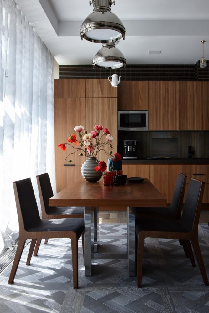 Кухня/столовая в цветах: Коричневый, Светло-серый, Серый, Темно-коричневый. Кухня/столовая в стиле: Минимализм.