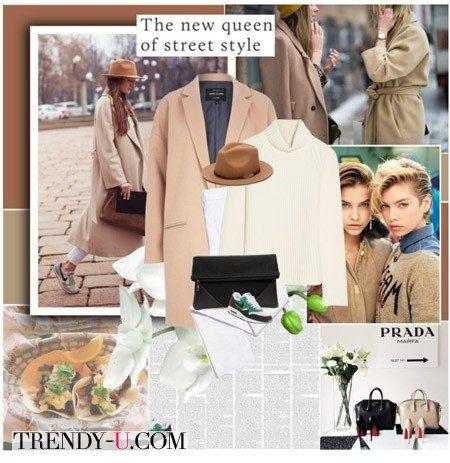 Джинсы-бойфренды и модное бежевое пальто-кокон