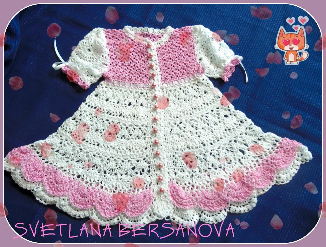 Платье для девочки крючком ГОДЕЦИЯ .Dress for a little girl crochet