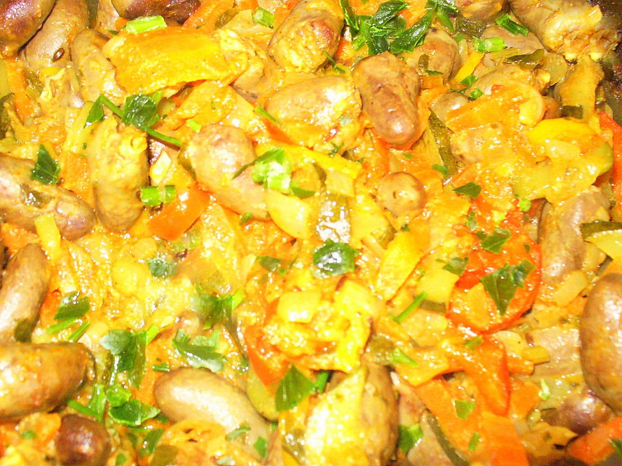 Куриные сердечки  с овощами . Фото-рецепт. Olga Dell