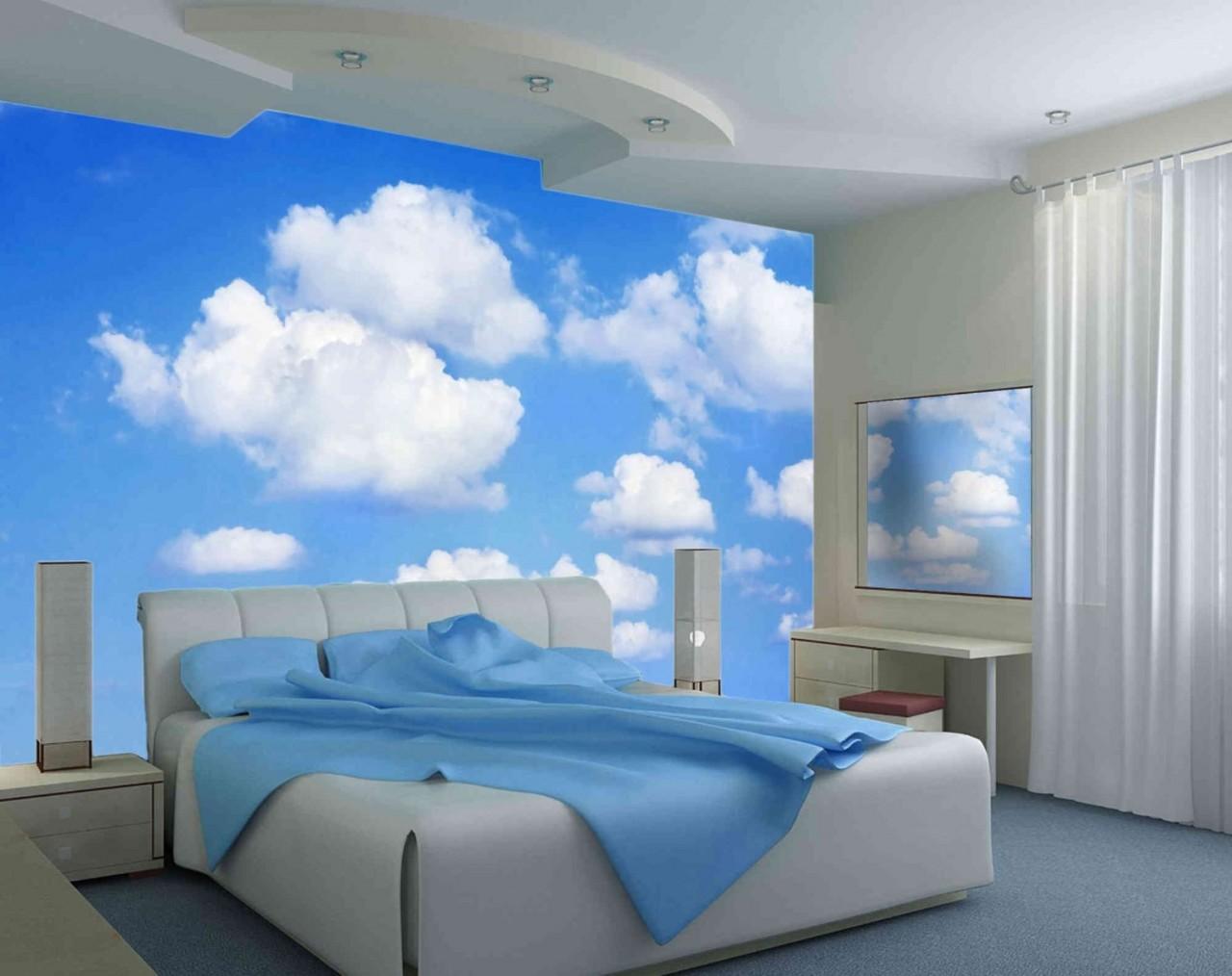 Облака в интерьере преображают спальню