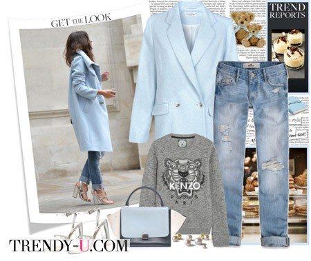 Пальто цвета аквамарин и джинсы-бойфренды