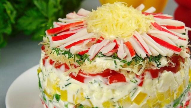 «Хризантема» — новый рецепт салата с крабовыми палочками.