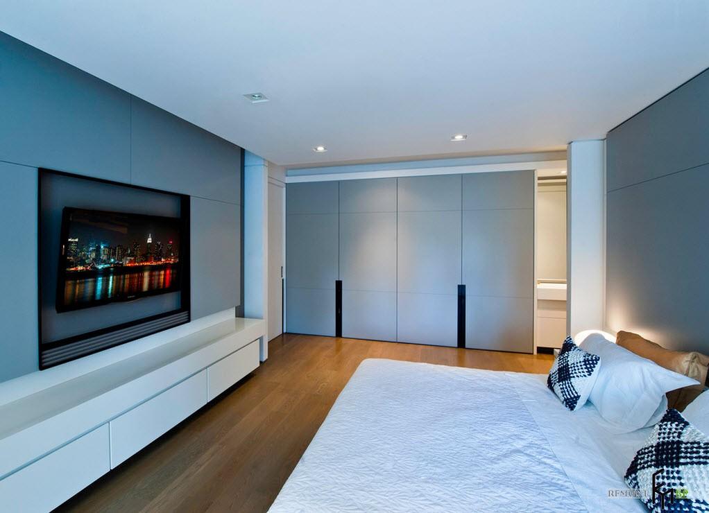оформление стены с телевизором в спальне фото персонажи