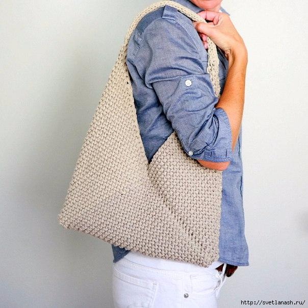 Простая сумка спицами: мастер-класс
