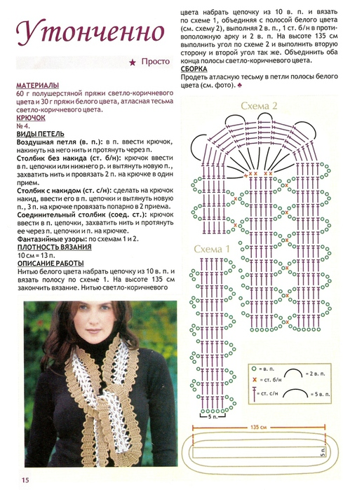шарфы вязаные крючком схемы и описание фото швы
