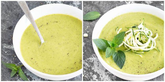 Суп-пюре из кабачков с авокадо и мятой