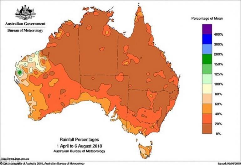 На карте показано резкое снижение уровня осадков в Австралии с апреля по август 2018 года ynews, австралия, в мире, жутко, засуха, кенгуру, новости, планета в опасности