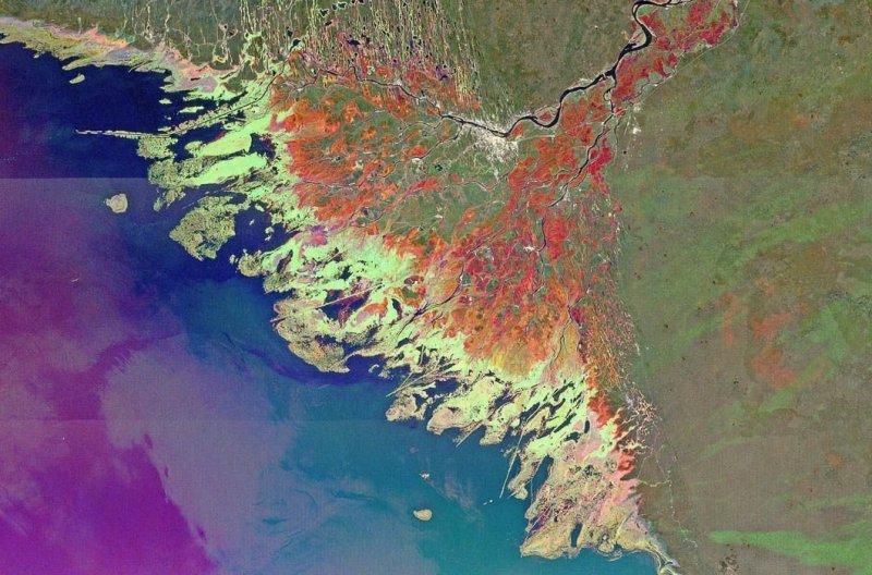 18. Волга впадает в Каспийское море земля, космос, пейзаж, планета, природа, россия, фотосъемка