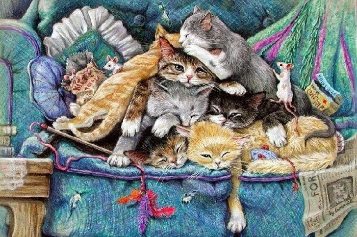 «Нет кота – в доме пустота»: Забавные мурлыки от современных художников