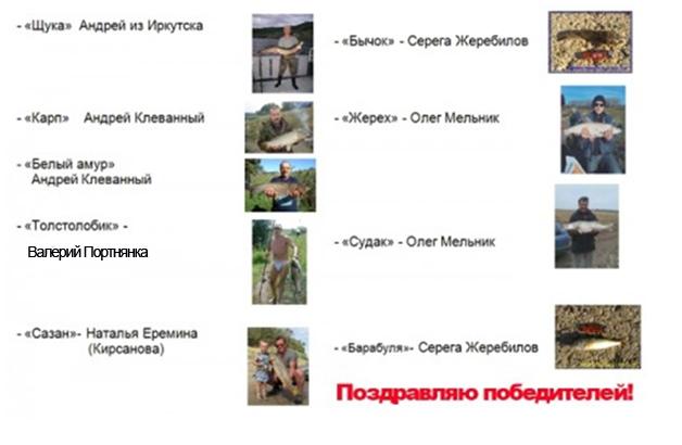 """Итоги конкурса """"Самая большая  рыба Осень-2010"""""""