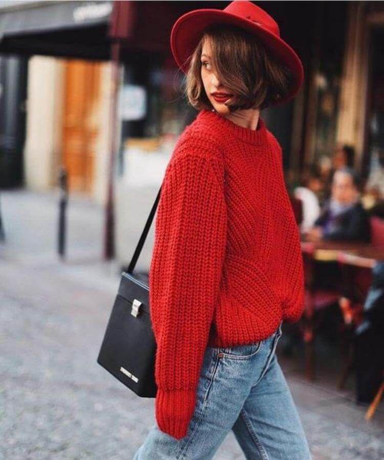 Красные кофты: лучшие сочетания этой осенью и зимой